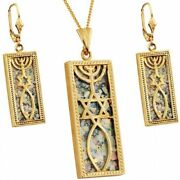 Roman Glass Messianic And039grafted Inand039 Pendant And Earrings -14k Gold - Free Necklace