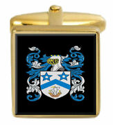 Mclaren Scotland Family Crest Surname Coat Of Arms Gold Cufflinks Engraved Box