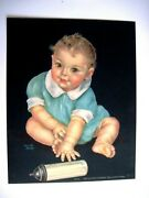 Adorable Vintage Print By Charlotte Becker Baby And Bottle Ten Toes,ten Finger
