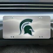 Michigan State Spartans Diecast Chromed Metal License Plate Tag
