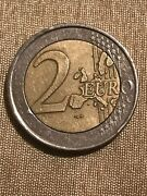 2 Euro Coin Very Rare Original With Andldquosandrdquo In The Star And Number 2 Extended