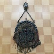 Antique Victorian Purse Chatelaine Beaded Suede Silver Tone Engraved