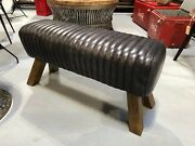 Vintage Style Genuine Leather Bench Pommel Horse Dinning Table Bench Foot Stool