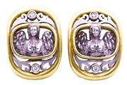 Kieselstein Cord 18 Kt Two Tones Diamonds Pair Of Ear Clip Exceptional Earrings