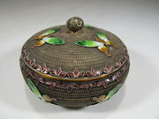 Antique Chinese Export Filigree Silver And Enamel Box Cs14