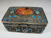 Antique Chinese Export Filigree Silver, Agate And Enamel Box Cs106