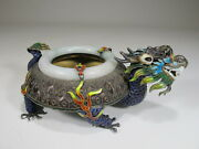 Antique Chinese Export Silver Jade And Enamel Ashtray Cs17