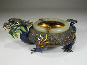 Antique Chinese Export Silver Jade And Enamel Ashtray Cs72