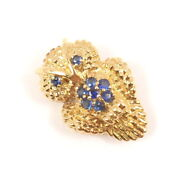 Rare Vintage And Co 18k Gold Blue Sapphire Owl Textured Pin Brooch