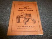 Allis Chalmers Model B Tractor Parts Catalog And Owner Operator Maintenance Manual