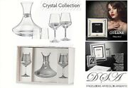 Set Crystal Decanter For Wine With 2 Stem Glasses Balon And Plates Silver 925