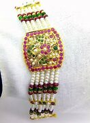 Authentic Tribal Ruby Emerald Pearl Studded With 22 Carat Yellow Gold Bracelet