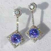 Tanzanite Diamond Earrings 18k White Yellow Rose Gold Drops 1.2 Long Gift