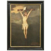 19th Century Italian Antique Great Oil Painting On Canvas Crucifixion Of Jesus