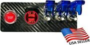 12v Real Carbon Fiber Switch Panel 3 White Switches/red Push Start/dual Red Usb