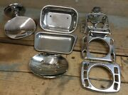 Lot Of 7 Wall Mount Metal Soap Dishes, Toothbrush, Cup Holders, Ekco, Franklin
