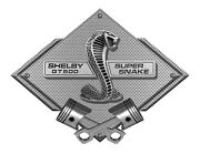 Shelby Super Snake Gt500 Silver Carbon Diamond Metal Sign - Shelby Licensed