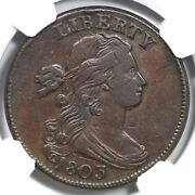 1803 S-248 R4+ Ngc Vf25 Sm Date Sm Frac Draped Bust Large Cent Coin 1c