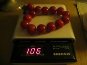 Vintage Cherry Amber Bakelite Graduated Necklace Rich Marbled Reds 15 106 Grams
