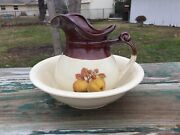 Vintage Mccoy Pottery Bowl And Water Pitcher Set Wash Basin Fruit Festival Peach
