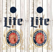 Miller Lite Beer Cornhole Wraps Full Can Board Decals Bag Toss Game Stickers