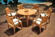 Dslg A-grade Teak 7pc Dining Set 48 Round Butterfly Table 6 Arm Chair Outdoor
