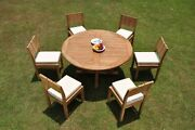 Dsvr A-grade Teak 7pc Dining Set 60 Round Table 6 Armless Chair Outdoor Patio