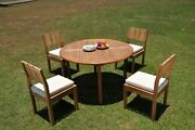 Dsvr A-grade Teak 5pc Dining Set 52 Round Table 4 Armless Chair Outdoor Patio