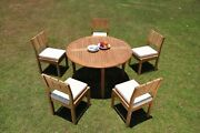 Dsvr A-grade Teak 6pc Dining Set 52 Round Table 5 Armless Chair Outdoor Patio