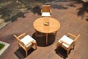Dslg A-grade Teak 4pc Dining Set 48 Round Butterfly Table 3 Arm Chair Outdoor