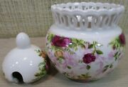 Royal Albert Old Country Roses Chintz Pierced Lidded Jam Jelly Jar New In Box