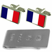 Guadeloupe Flag Cufflinks And James Bond Money Clip