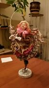 Andnbspdoll Angel With Face Up With A Christmas Tree. Wireframe Textile Papye-mashe