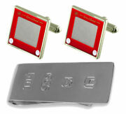 Retro Red Drawing Game Cufflinks And James Bond Money Clip
