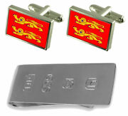 Lower Normandy Province France Flag Cufflinks And James Bond Money Clip