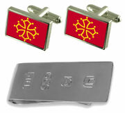Mid-pyreness Province France Flag Cufflinks And James Bond Money Clip