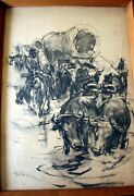 Usa American Painter Pal Fried Cowboy Convoy Paper Charcoal Pencil1940`s