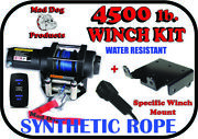 4500lb Mad Dog Synthetic Winch/mount Kit For 2013-2019 John Deere Gator Rsx 850i
