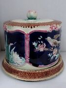 Antique Majolica Pottery Cheese Dish Dome And Base Drip Glaze Decorated Birds