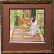 Freda Surgenor 1941- Original Painting Bare Feet Girl With A Basket Of Flowers