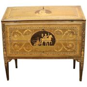 20th Century Louis Xvi Style Walnut Inlay Chest Of Drawers With Secretaire