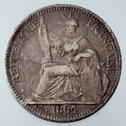 1884-a French Cochin China 10 Cent Silver Coin Km 4 Vf Condition