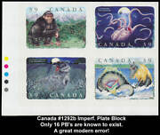 Canada 1292b Imperf Plate Block Upper Left Error 39c Folklore Only 16 Known