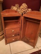 Vintage Doll All Wood Wardrobe Clothes Storage Trunk 23 3/4andrdquo Tall
