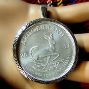Sterling Silver New Pendant With A One Oz Fine Silver Krugerrand Bullion Coin