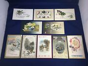 Vintage New Years Greetings Cards Postcards Early 1900s Embossed Mixed Lot Of 10