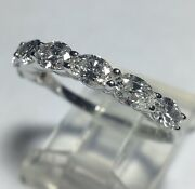 Brand New 1.36cts Oval Brilliant Diamond Band 14k White Gold Ring Size 6 3/4