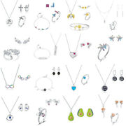 Real 925 Sterling Silver Classic Eternity Cz Earrings And Necklace Jewelry Sets