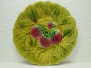 Sgn4 By Sarreguemines Pie Plate Strawberries Embossed No Trim Majolica B245