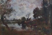Antique Landscape French River Oil Painting Maurice Landeacutevis 1860-1940